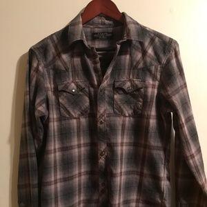 AllSaints Plaid Button Up Shirt S